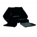 Langt tørklæde i blankt, sort sælskind