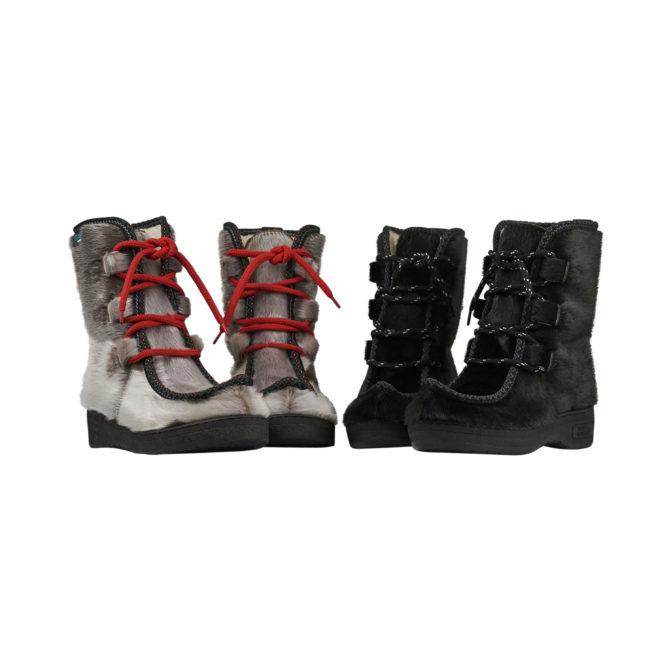 Støvler i grønlandsk sælskind. Fås i sort og natur sælskind