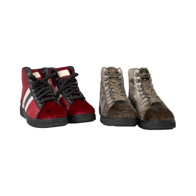 Støvler Hice natur og rød grønlandsk sælskind