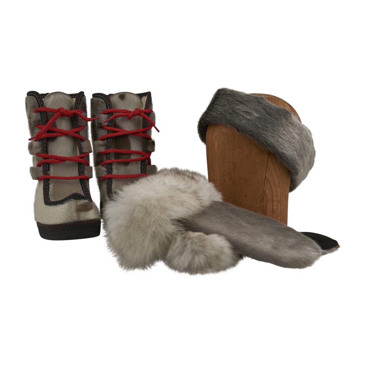 støvler, luffer og pandebånd i grønlandsk sælskind