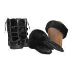 Pandebånd, støvler og luffer sort sælskin