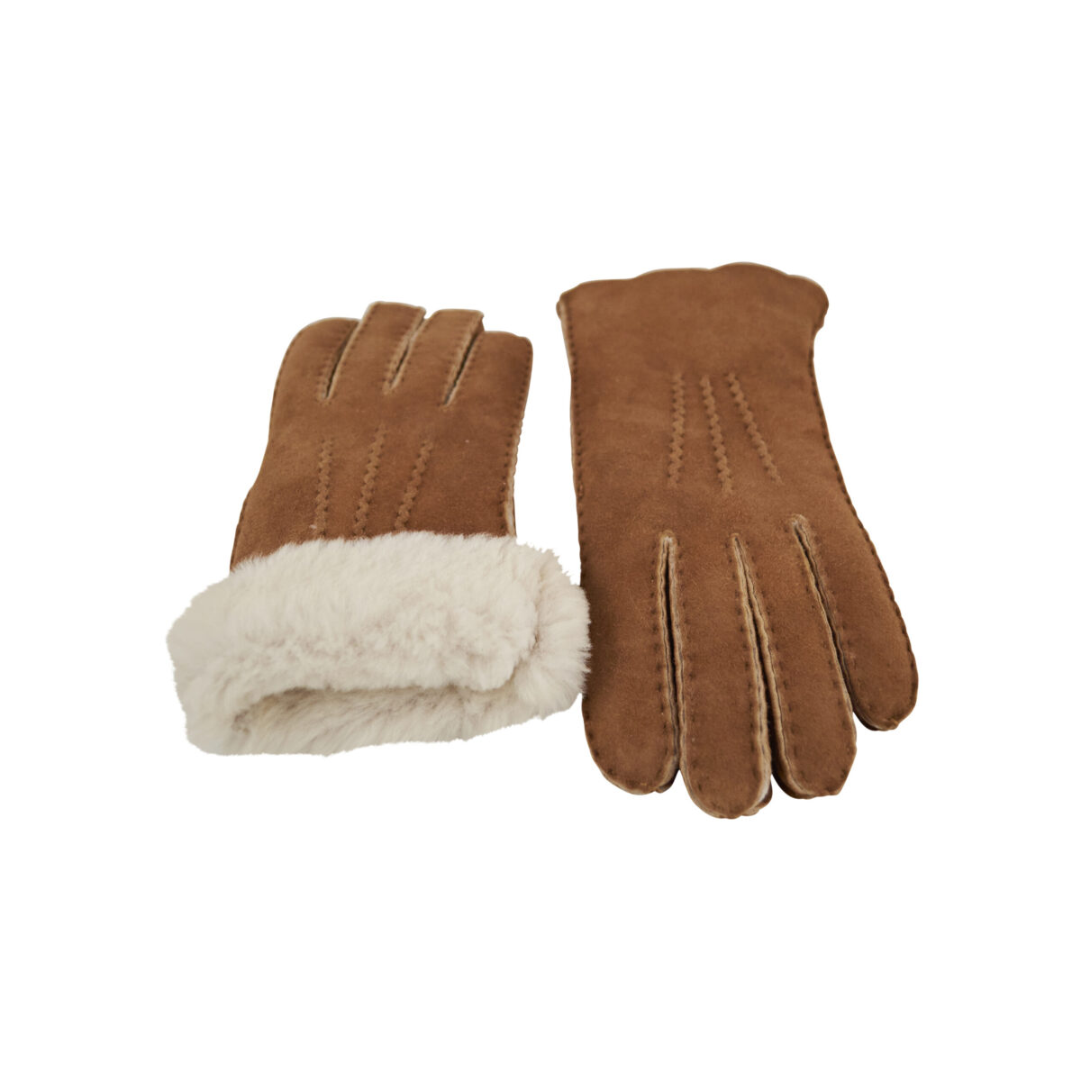 Handsker i cognacfarvet rulam - fås i flere størrelser